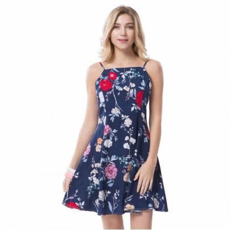 ce0727c004 Vestido Feminino Moda Praia Casual Estampa Floral com Alça Saia Leve