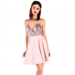 Rose Princess Dress Elegant Short with Plunging Neckline