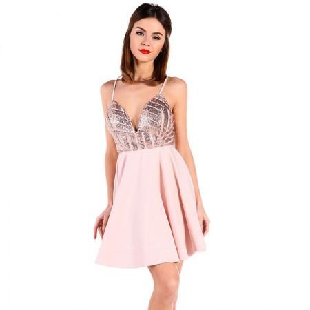 Vestido Rosa Princesa Elegante Curto Com Decote Profundo