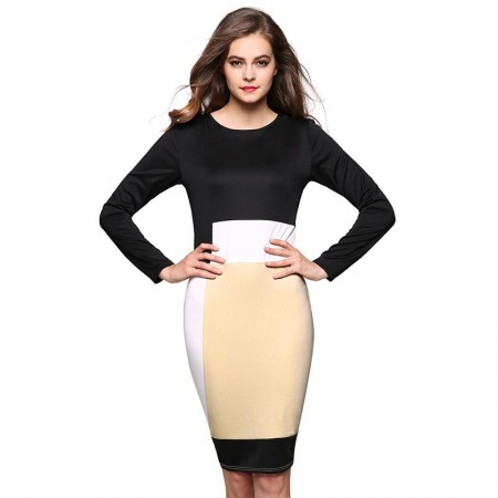 Black dress patchwork Eastern Long Sleeve