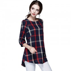 Women's Checked Blouse Black Social Chess Long Sleeve Casual