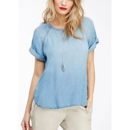 Camiseta Feminina Básica Azul Lavado Jeans Fino Casual Microfibra