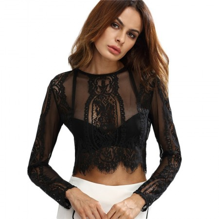 Women's Mini Blouse in Lace Long Sleeve Belly Sample