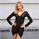 Black Dress Sex Female Pleated Party Style and Ballad Neckline V