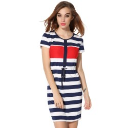 Striped Dress Casual Short White Fashion Ladies Beach
