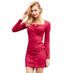 Stylish Short Dress Thick Button Fabric Long Sleeve Red