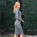 Midi Women's Long Sleeves Gray Worker Dress