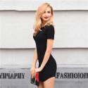 Black Short Dress Cheap Female Print Lisa Casual Fashion Summer