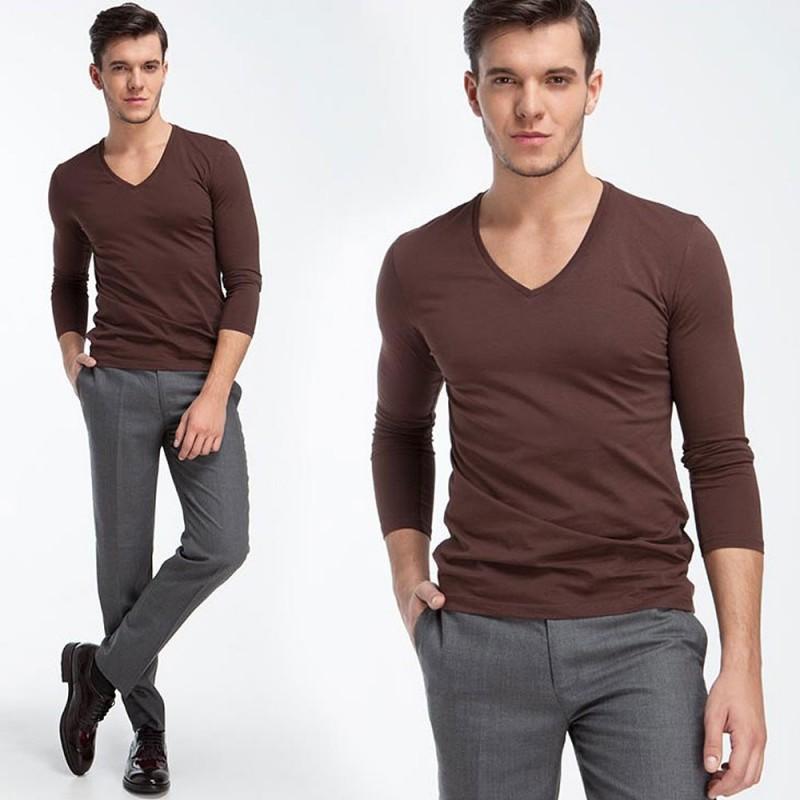 e233cd4693f870 Camiseta Manga Longa Gola V Masculina Casual Plus Size Tamanhos ...