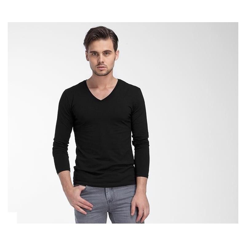 b9a47cb8c Camiseta Manga Longa Gola V Masculina Casual Plus Size Tamanhos Grande.  Loading zoom