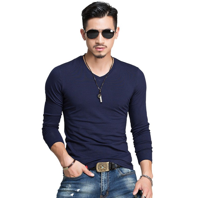 Camiseta Masculina Manga Comprida Casual Estampa Lisa Gola Careca Plus dee610704e927