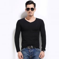 Camiseta Plus Size Masculina Lisa Manga Longa Gola V Básica Casual