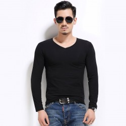 Plus Size Men's T-Shirt Lisa Long Sleeve Basic V Neck Casual