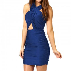 Dress Short Asymmetrical Sexy Female Blue and Gold