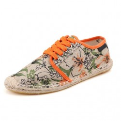 Sapatilha Feminina Jeans Estampa Floral Casual Confortável