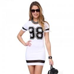 Vestido Esporte Escolar 98 Curto Preto e Branco Feminino