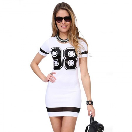 Dress School Sport 98 Short Black and White Female