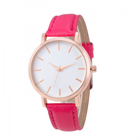 Women's Pink Clean Watches Various Colors Bracelet Leather Visor White