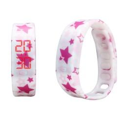 Rélogio Feminino Digital Customizado Branco Estrelas Rosa Acessorio