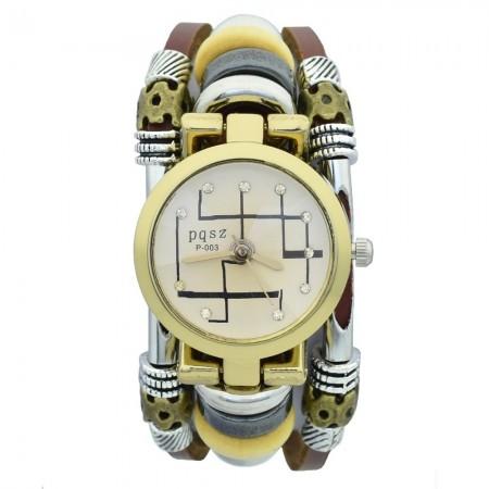 Relógio Quartzo Feminino Vintage Bracelete Cigano Moda Acessorios