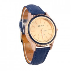 Women's Watches With Bright Crystals Golden Leather Bracelet