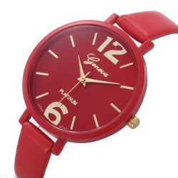 Clock Female Geneva Large Numbers Bracelet Thin Round