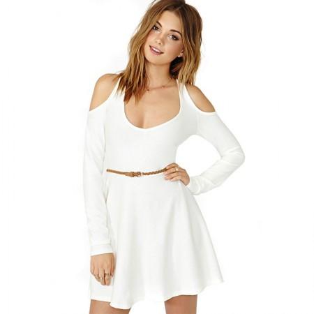 Vestido Curto Casual Branco e Preto Estilo Baile
