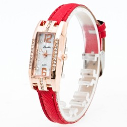 Women's Fine Rectangular Watch with Elegant Quartz Crystals