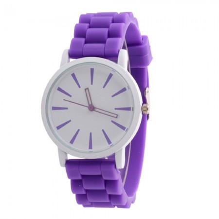 Relógio Bonito Feminino Roxo Mostrador Branco Quartzo de Silicone