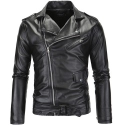 Men's Jacket Black Waterproof Plain Leather Zipper