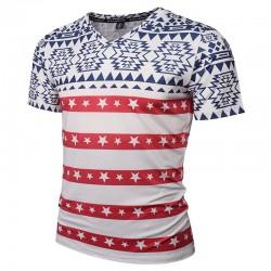 SWAG Men's American Floral Print T-Shirt White V Neck