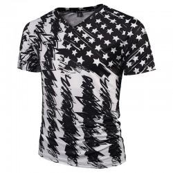 Camiseta SWAG Masculina Estampada Floral Américana Branca Gola V