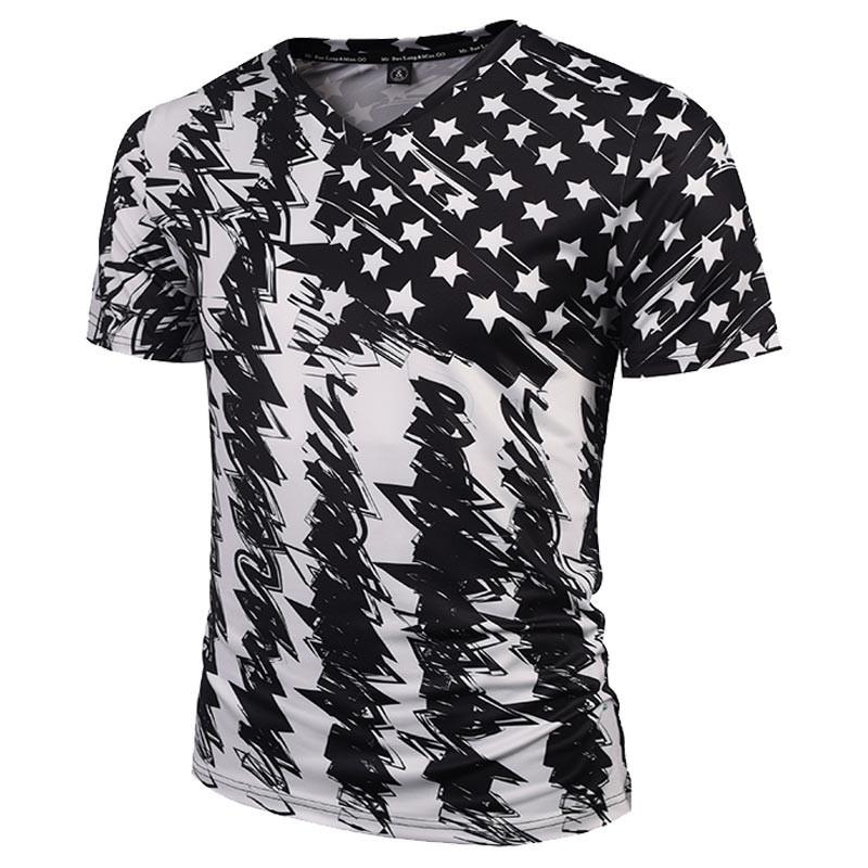 Swag men 39 s american floral print t shirt white v neck for White v neck shirt mens