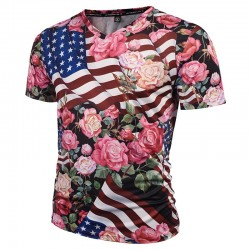 SWAG Men's American Floral Print T-Shirt White V Neck