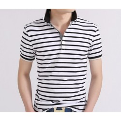 White Striped Polo Shirt Men's Fashion Summer Short Sleeve Casual