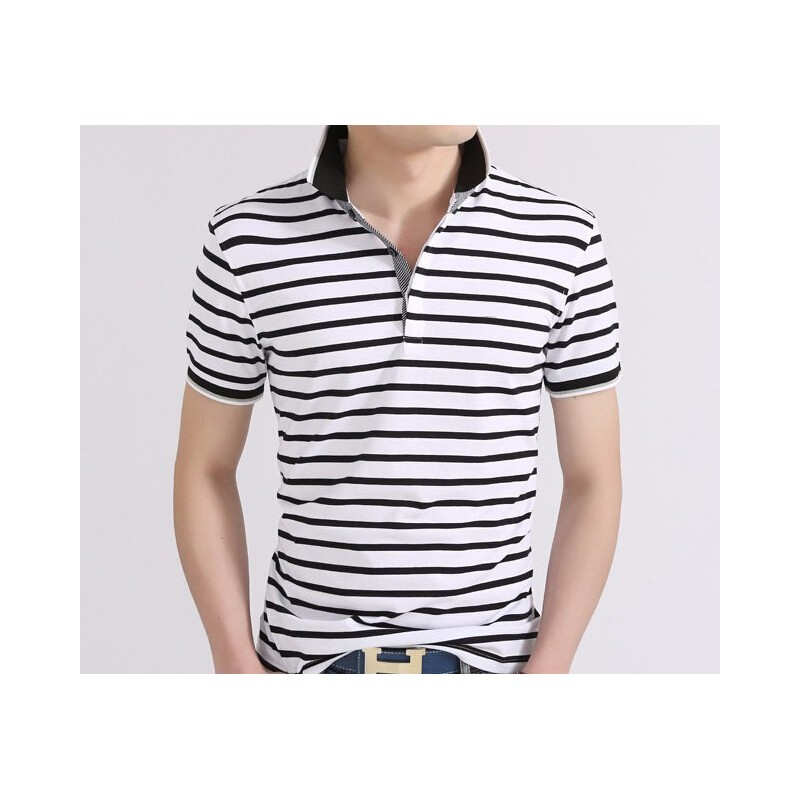 Camisa Polo Branca Listrada Masculina Moda Verão Manga Curta Casual 00b68a59fdc06