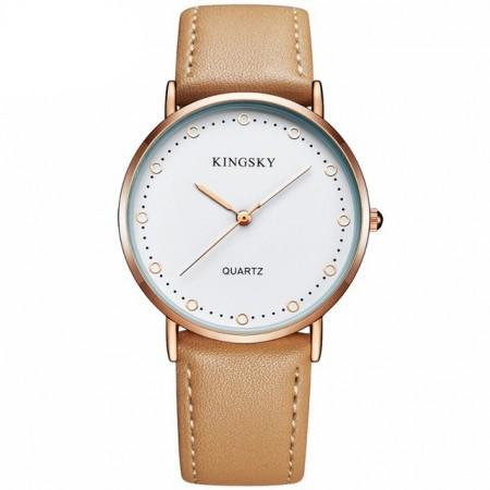 61645d58b77 Relógios Feminino Elegante Pulseira de Couro Marrom Mostrador Branco ...
