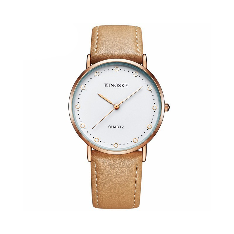 ddd5b7d30fb Relógios Feminino Elegante Pulseira de Couro Marrom Mostrador Branco ...