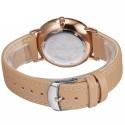 Relógios Feminino Elegante Pulseira de Couro Marrom Mostrador Branco