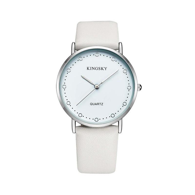 b604611d574 Relógios Feminino Elegante Pulseira de Couro Marrom Mostrador Branco Calitta