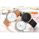 Ladies Watches Elegant Brown Leather Bracelet White Dial