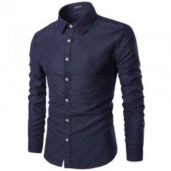 Camisa Social Slim Fit Masculina Azul Marinho e Vinho com Bolinhas