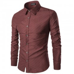 Social Slim Fit Men's Navy Blue Shirt and Wine with Polka Dots