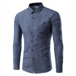 Camisa Social Masculina Bonita Estampada Azul Manga Longa Losango