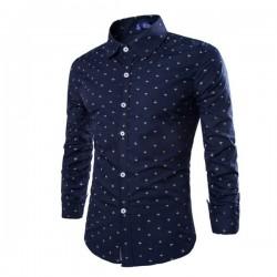 Camisa Social Masculina Casual Pequenas Angoras de Botão Azul