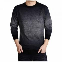 Camiseta Masculina Preta em Caxemira Tricotado Manga Comprida Inverno