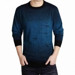 Camiseta Masculina Azul em Caxemira Tricotado Manga Comprida Inverno