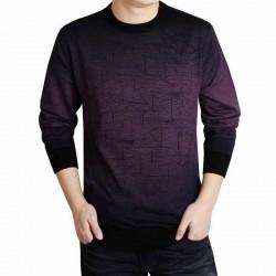 Camiseta Masculina Roxa em Caxemira Tricotado Manga Comprida Inverno