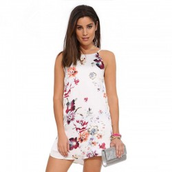Floral Dress Casual Short White Female