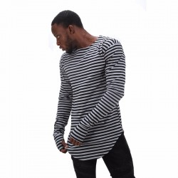 Oversized White Stripe T-Shirt Long Asymmetrical SWAG and Glove